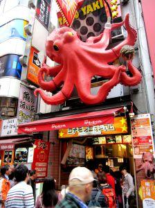 the popular takoyaki store along dotonbori street