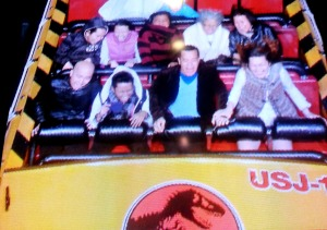 the wacky photo taken during the 85 feet drop of jurassic park ride