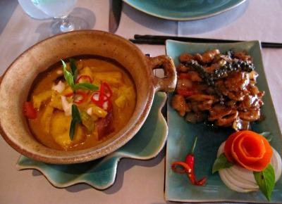 amok fish (right) and stir fried chicken with kampot black pepper (left)