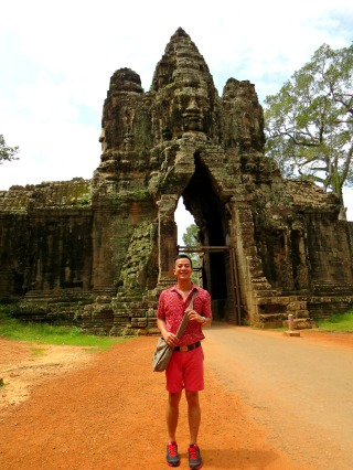 excited at angkor thom south gate