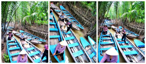 blue sampans perfectly compliments the color of brown water