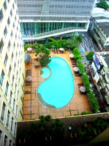 view of the pool from the 14th floor