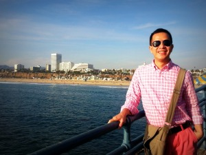 sta. monica beach at the background
