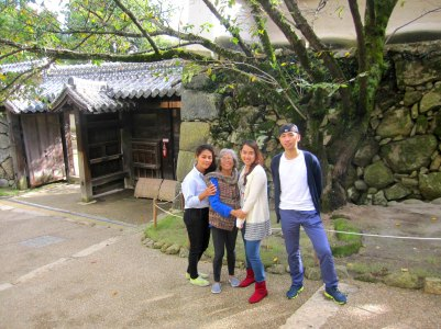 nengkoy and her beautiful grandchildren exploring the himeji castle complex