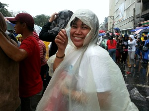my elder sister enjoying the rain and the pope francis vibe