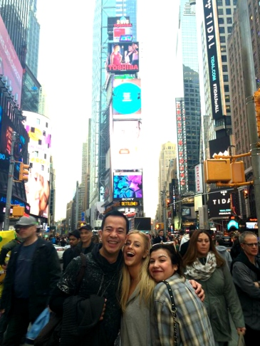 some bubbly strangers at times square!