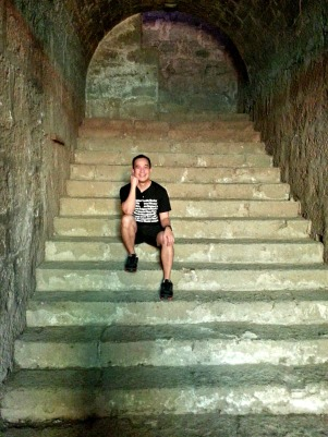 a dungeon like stairs leading to a church belfry