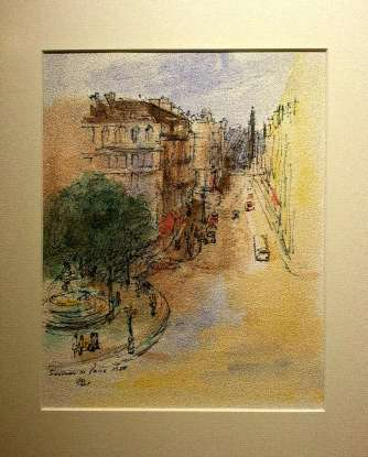 Paris, 1980 (watercolor on paper)