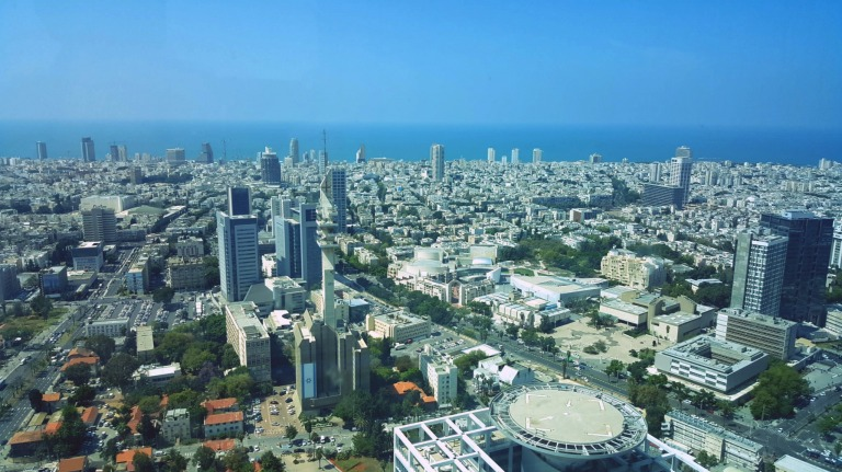 spectacular view from the Azrieli Observatory. The Mediterranean Sea at the far end!