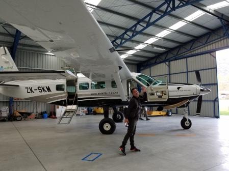 happy inside the hangar